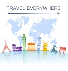 Travel landmark concept poster print vector