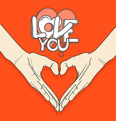 Abstract valentines hearts of human hands Love you vector image vector image