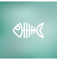 Fish skeleton thin line icon vector image