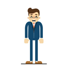 Frightened businessman in blue business suit vector