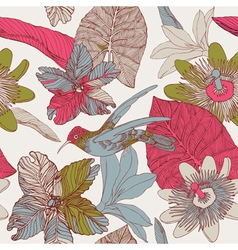 Seamless tropical floral pattern vector image