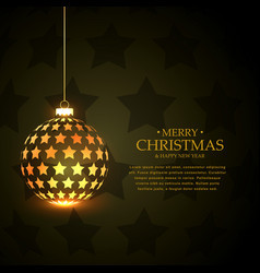Golden hanging shiny christmas balls made with vector