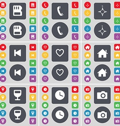 SIM card Receiver Compass Media skip Heart House vector image