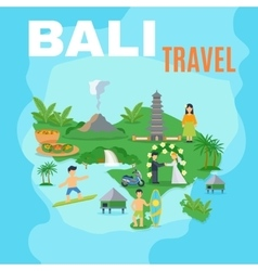 Background Map Bali Travel vector image
