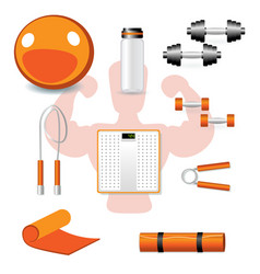 fitness different tools on white backgound vector image vector image