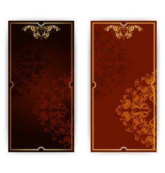 invitation card with brown ornament vector image