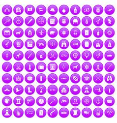 100 guns icons set purple vector