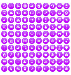 100 nursery school icons set purple vector