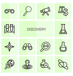 14 discovery icons vector image