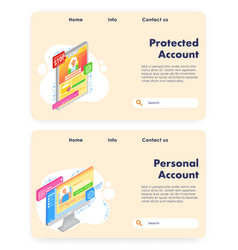 Account creation website landing page vector