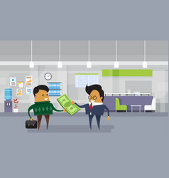 Asian business man pay salary to employee worker vector