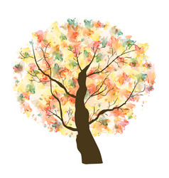 autumn paint textured art tree vector image