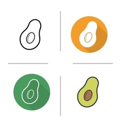 Avocado flat design linear and color icons set vector