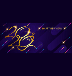 banner with golden text 2020 happy new year vector image