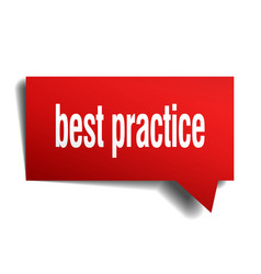 Best practice red 3d speech bubble vector