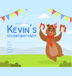 birthday party invitation card template cute vector image