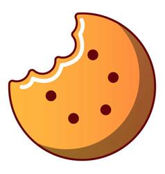 Bitten biscuit icon cartoon style vector