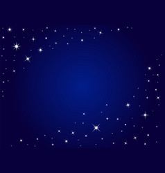 Blue space stars background night sky vector