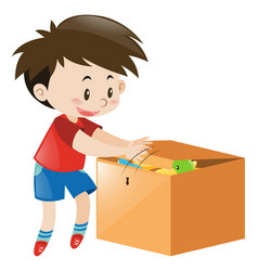 Boy putting things in wooden box vector