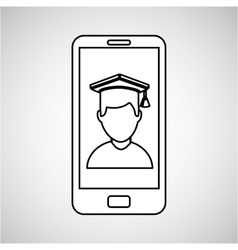 Boy student mobile device education vector
