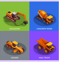 Building vehicles isometric design concept vector