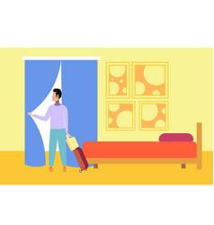 businessman with luggage in hotel room successful vector image