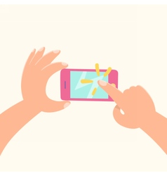 Cartoon ands holding phone and tapping vector image