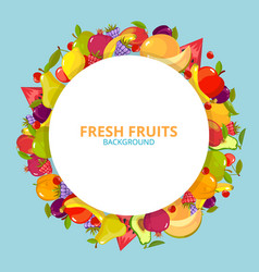 cartoon fruits background colorful circle round vector image