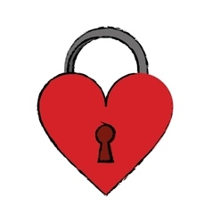 cartoon padlock shaped heart loved vector image
