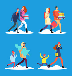 Cartoon people walking on winter snow street vector