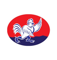 Cartoon rooster chicken pointing wing vector