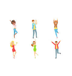 celebrating people set happy young men and women vector image