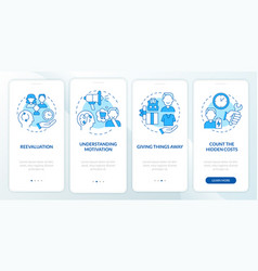 Challenging consumerism blue onboarding mobile vector