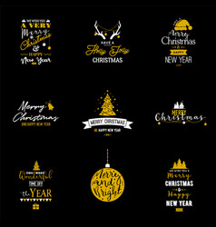 christmas and new year typography emblems set vector image