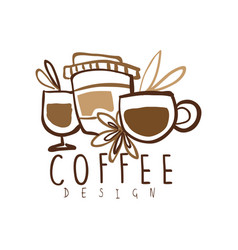 Coffee hand drawn logo design with mugs and paper vector