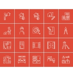 Construction sketch icon set vector image