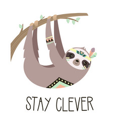 cute cartoon sloth hanging on tree tribal vector image