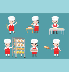 Cute pastry chef characters set with bread and vector