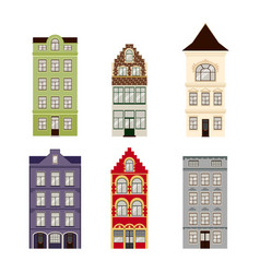 cute retro houses exterior set collection of vector image