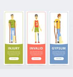 Disabled people banners set injury invalid vector