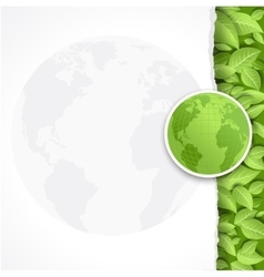 Eco blank with globe and leaves vector