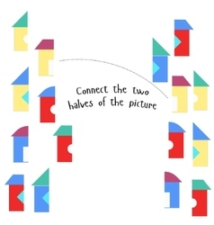 Educational game connect two parts of picture vector