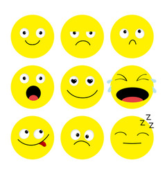 Emoji icon set emoticons funny kawaii cartoon vector