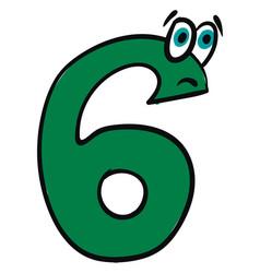 emoji sad green number six or color vector image