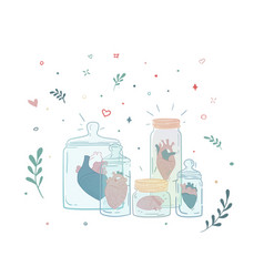 Et of jars with a human heart collection vector