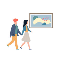 exhibition visitors looking art couple man vector image