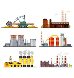 factories or industrial plants heavy industry set vector image