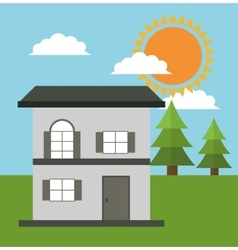 Family house cottage energy eco solar vector