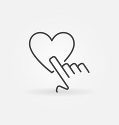 Finger tap on heart outline concept icon vector