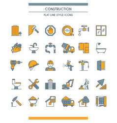 flat line design construction icons vector image